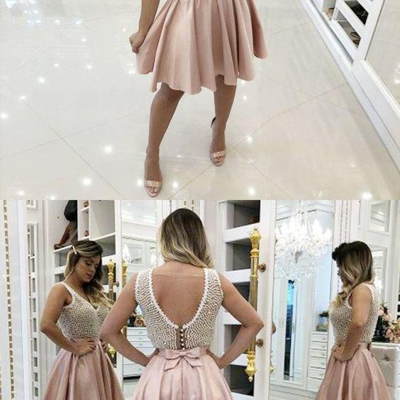 A-Line V-Neck Pink Homecoming Prom Dress with Beading,Homecoming Dresses