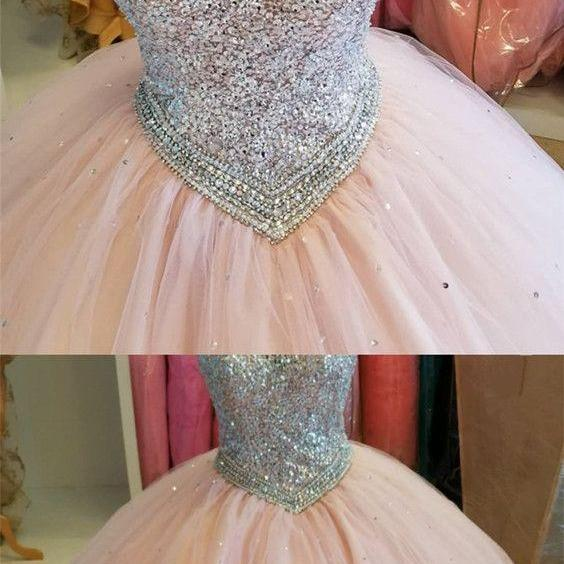 Stunning Sequins Beaded Prom Dresses,Keyhole Back Tulle Ball Gowns Quinceanera Dresses