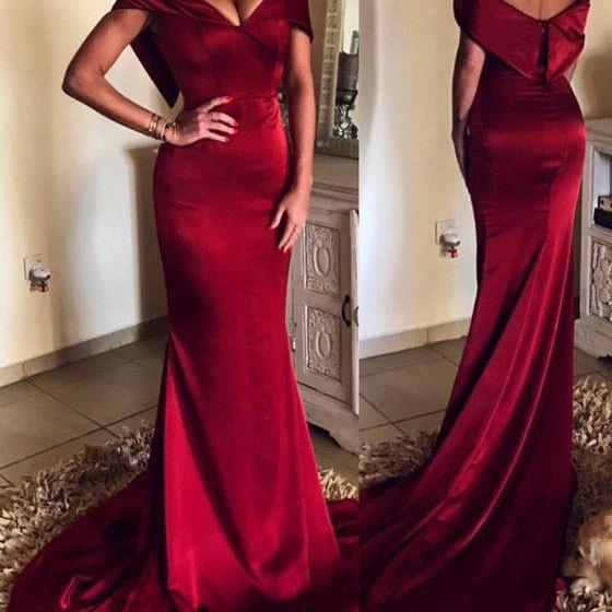Elegant V-neck Off The Shoulder Evening Dress,Long Satin Burgundy Evening Dresses, Mermaid Prom Gowns