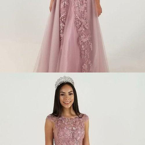 A-Line Jewel Cap Sleeves Blush Tulle Prom Dress with Appliques, modest blush jewel tulle long prom dresses with appliques, unique cap sleeves evening dresses with lace