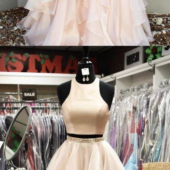modest two piece pearl pink long prom dresses, elegant tiered evening gowns with beading, unique 2 piece tulle party dresses