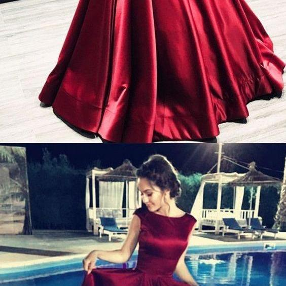 A-Line Bateau Backless Prom Dresses,Floor-Length Purple Satin Prom Dress with Pleats