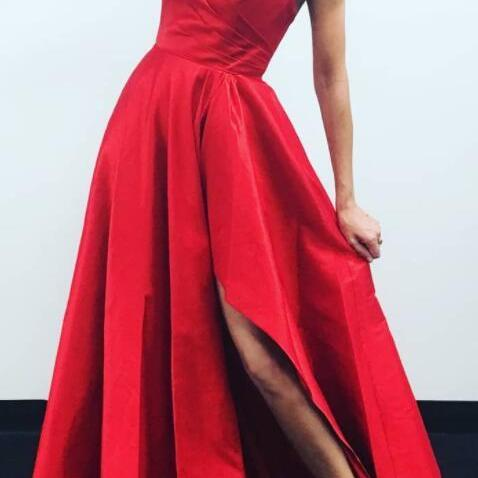 Sexy Spaghetti Straps Red Prom Dress, A Line Prom Dresses with Slit, Long Evening Dress