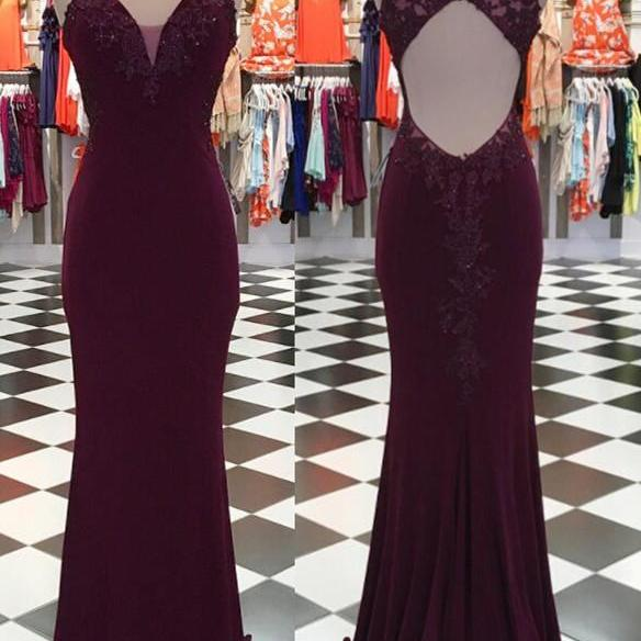 Charming Simple Prom Dress, Sexy Mermaid Prom Dresses, Chiffon Long Evening Dress