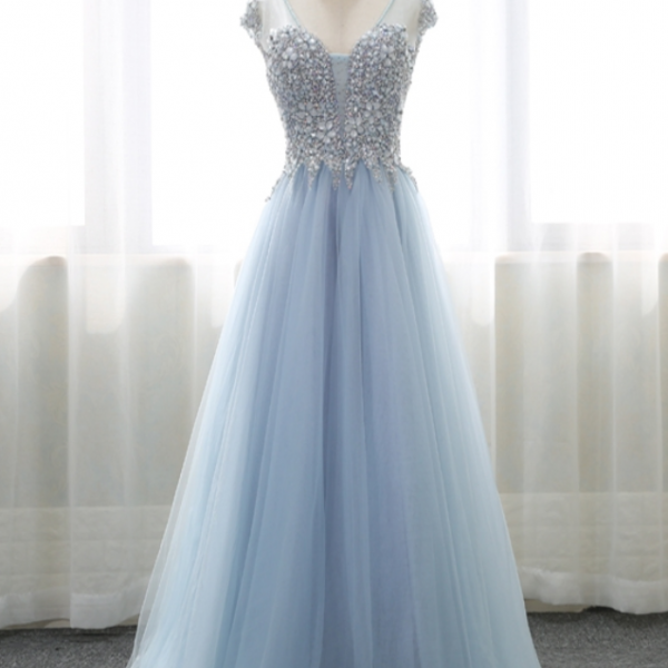Sheer Cap-Sleeved Crystal Beaded Tulle A-line Floor-length Prom Dress, Evening Dress