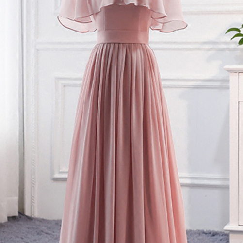 Off-The-Shoulder Chiffon A-line Floor-Length Prom Dress, Evening Dress, Bridesmaid Dress