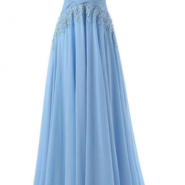 Fashion A-line Prom Dress,Scoop Sweep Train Chiffon Sleeveless Light Blue Prom Dress,A Line Long Chiffon Blue Lace Evening Dress,Sheer Back Long Chiffon Lace Prom Dress