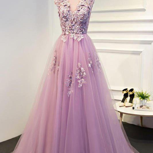 Appliques Prom Dresses, A-Line Prom Dress,Long Prom Dresses,Pink Prom Dresses,Tulle Evening Dress,A Line Prom Gowns