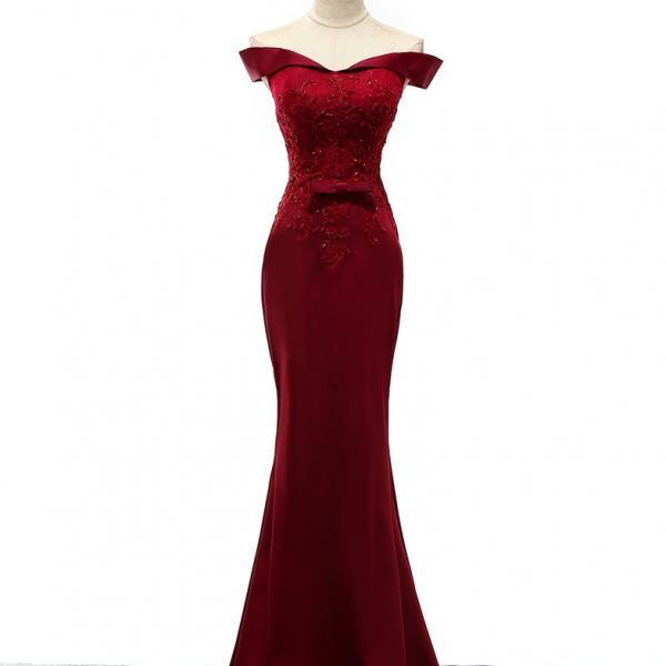 Burgundy Prom Dresses,Mermaid Prom Dress,Lace Prom Dresses,Evening Gowns,Lace Up Prom Dresses,Boat Neckline Prom Dresses,Long Prom Dresses,Simple Prom Dresses,Cheap Prom Dresses,Sexy Prom Dresses,Prom Dress,Evening Dress